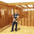 Construction site and handyman — Stock Photo #1429146