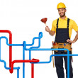 Plumber and pipe background - Stock Photo