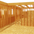 Stock Photo: 3d wood house structure