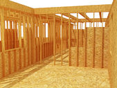 3d wood house structure — Stock Photo