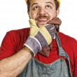 Handyman thinking — Stock Photo