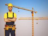 杂工和施工金属起重机便利屋と建設金属クレーン — 图库照片