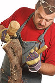 Man and sculpture making — Stock Photo
