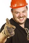 Red hat handyman — Stock Photo