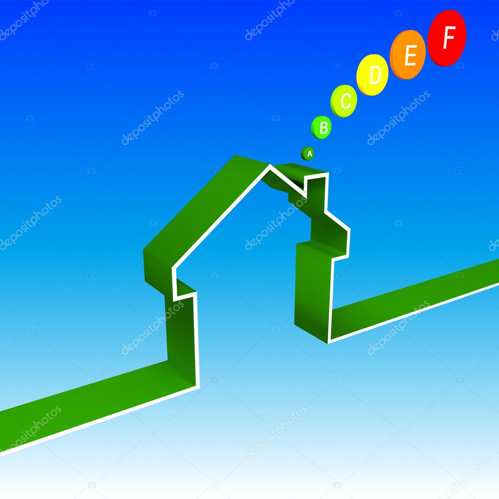 Eco house performancesave energy 3D illustration — Stock Photo #1718907