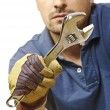 Manual worker closeup on white - Stock Photo