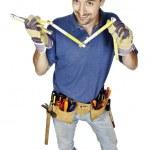 Handwerker mit Zähler — Stockfoto
