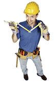 Handyman with meter — Stock Photo