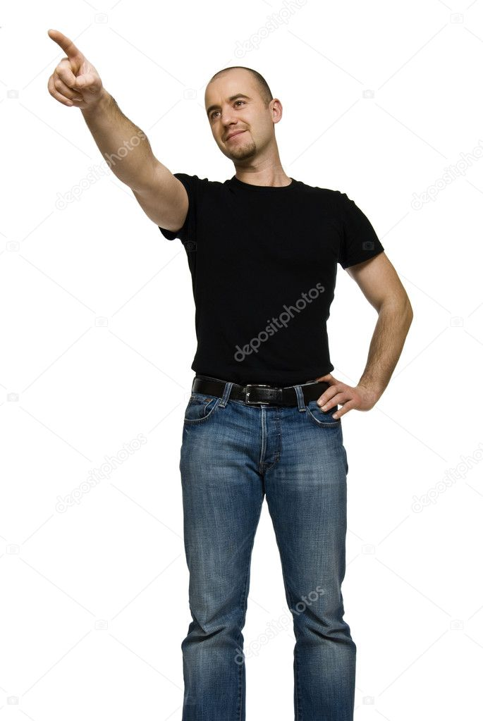 Young caucasian man point gesture isolated on white — Stock Photo #1937458