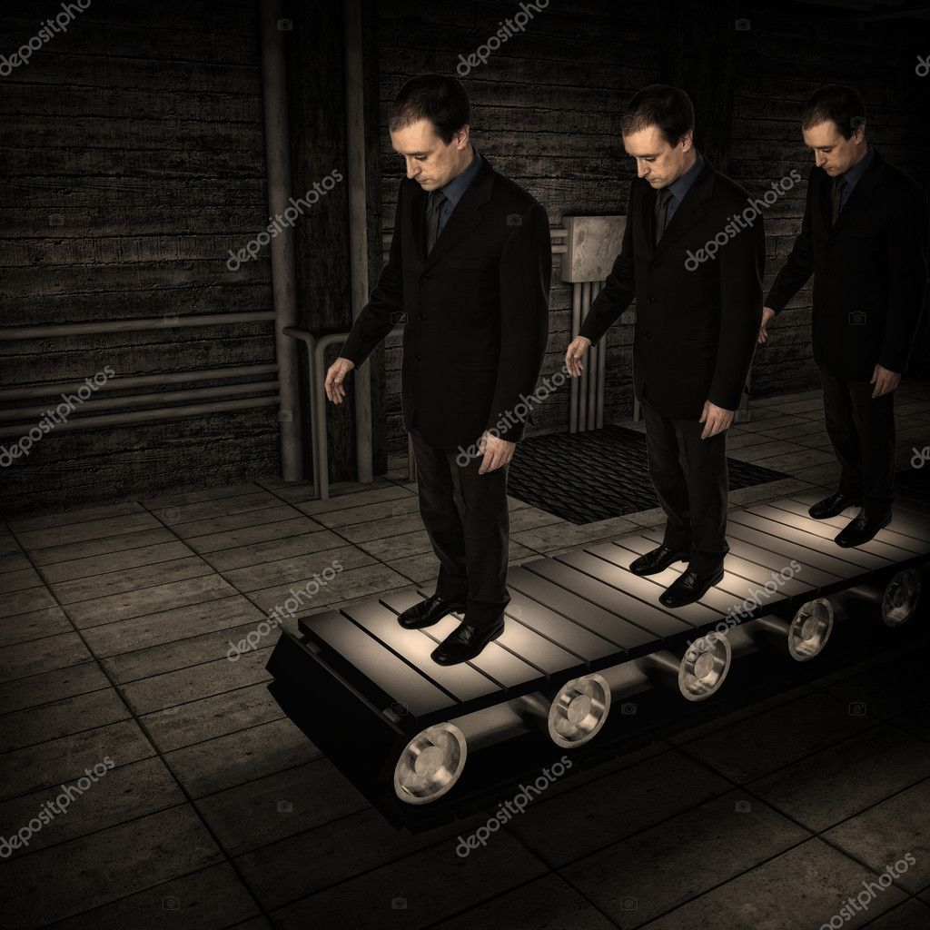 businessman clone on 3d Conveyor belt background — Stock Photo #2044651