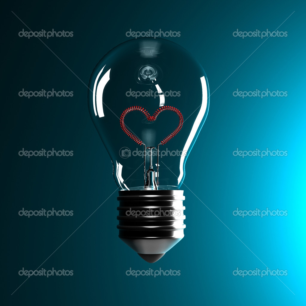 Fine 3d classic bulb with red heart love inside — Lizenzfreies Foto #2118721