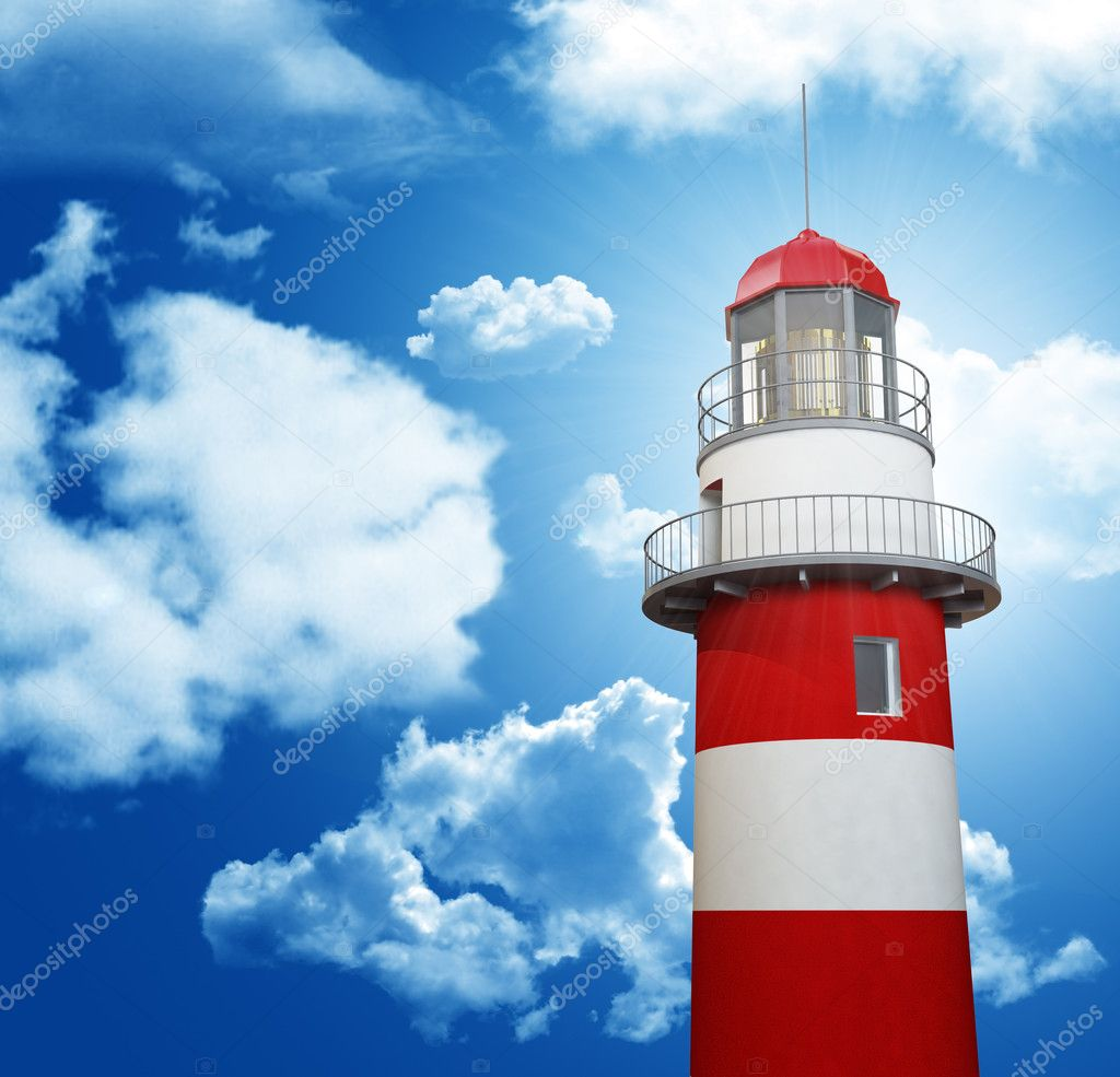 Classic red and white lighthouse and cloudy sky — Stock Photo #2186995
