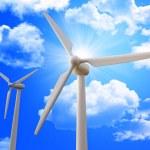 Wind turbine and blue sky — Stock Photo