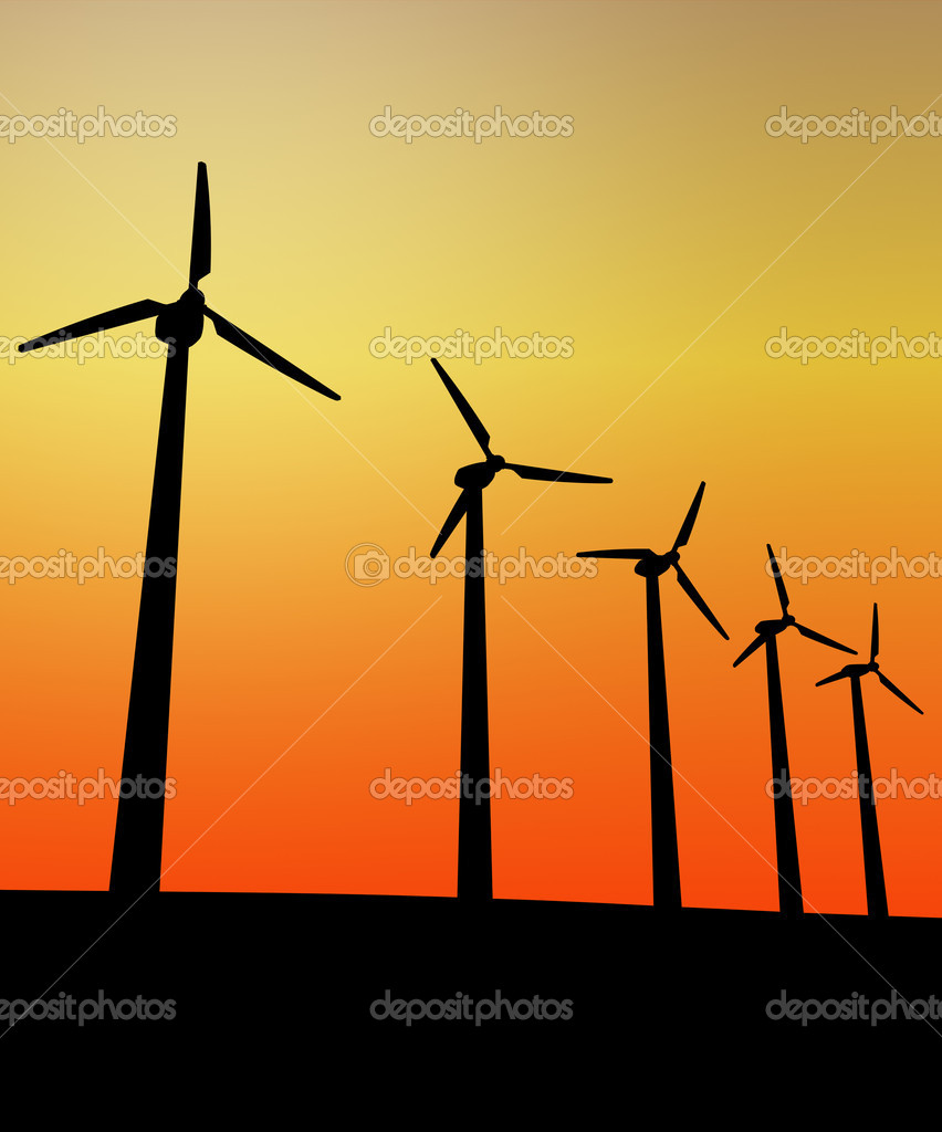 Wind turbine in the sunset 3d image background — Stock Photo #2235479