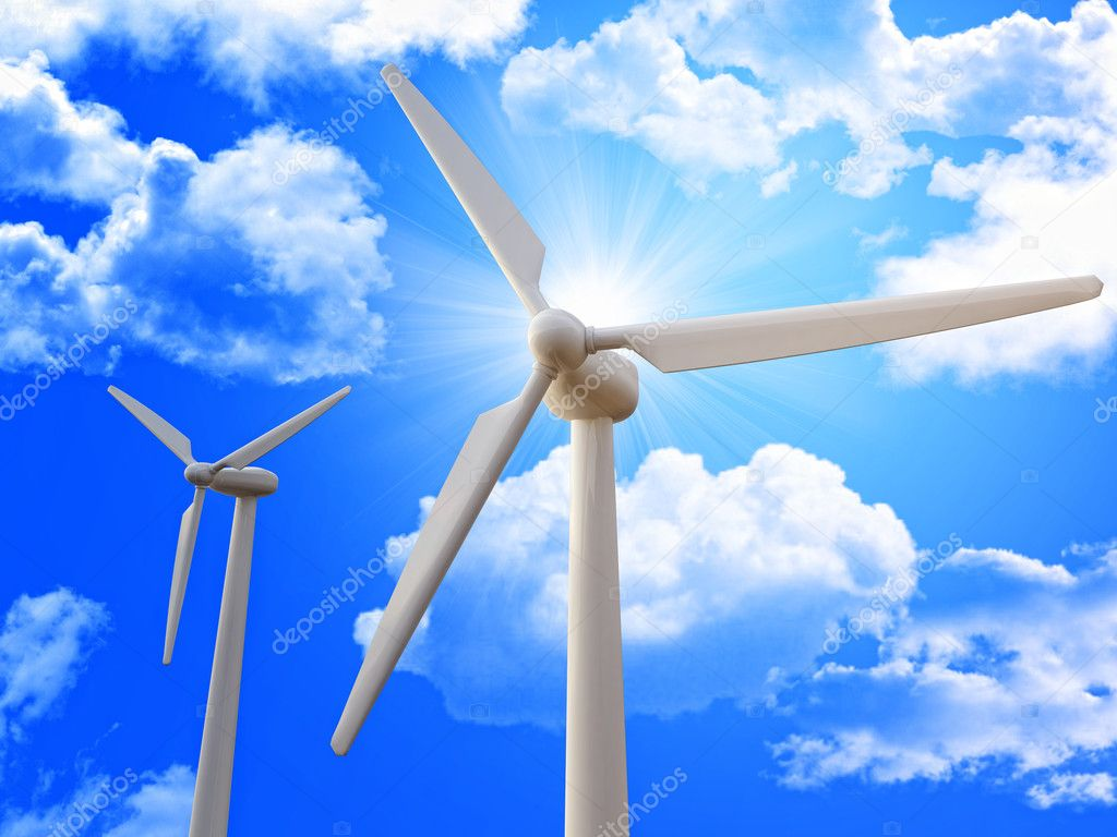 Wind turbine and blue sky 3d image background  Stockfoto #2235573