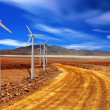 Wind turbine in the desert — Stock fotografie