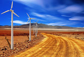 Wind turbine in the desert — Stock Photo
