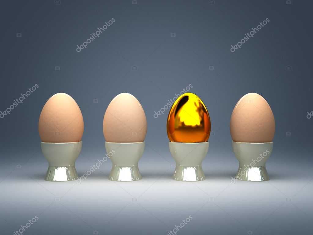 3d illustration of golden and natural eggs easter background — Stock Photo #2317165