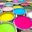 Colours paint can background — 图库照片
