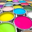 Colours paint can background — Stockfoto