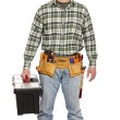 Standing handyman with toolbox — Stock Photo