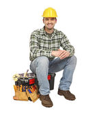 Young manual worker and toolbox — Stock Photo
