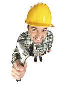 Funny worker on white — Stock Photo