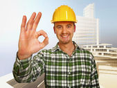 Constructione 工人背景 — 图库照片
