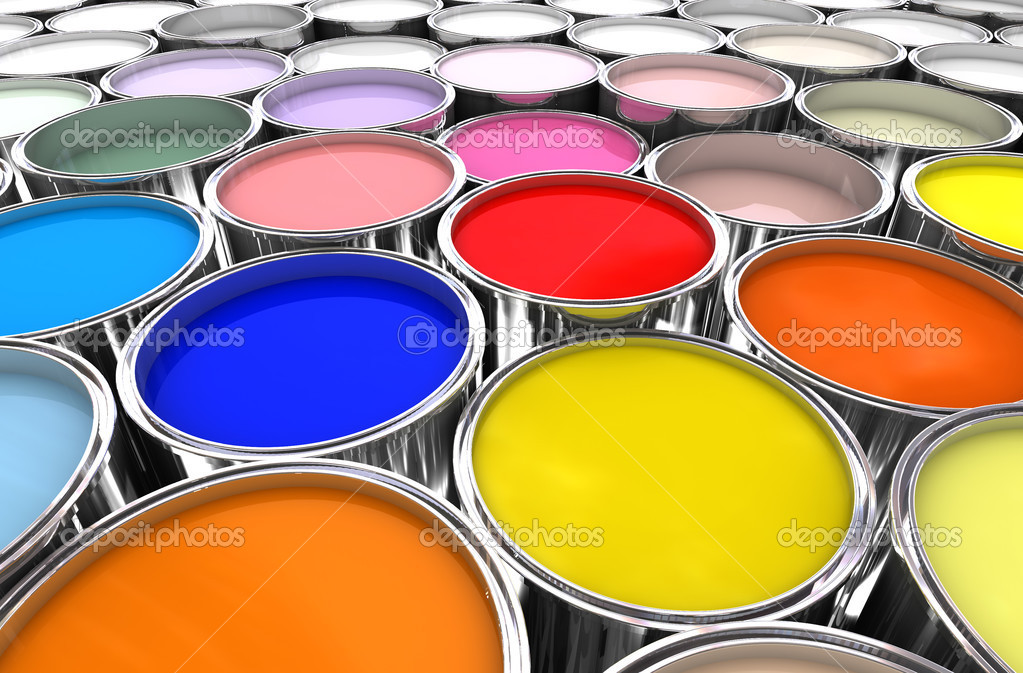 3d image of different color paint ink tank background — Stock Photo #2505171