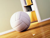 Volley ball on wood floor — Stock Photo