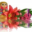 Stock Photo: Nested doll and reflection