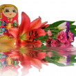 Nested doll and reflection — Stock Photo #1400040