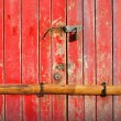 Old Barred Red Door - Stock Photo