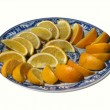 Plate with Oranges — Stock Photo