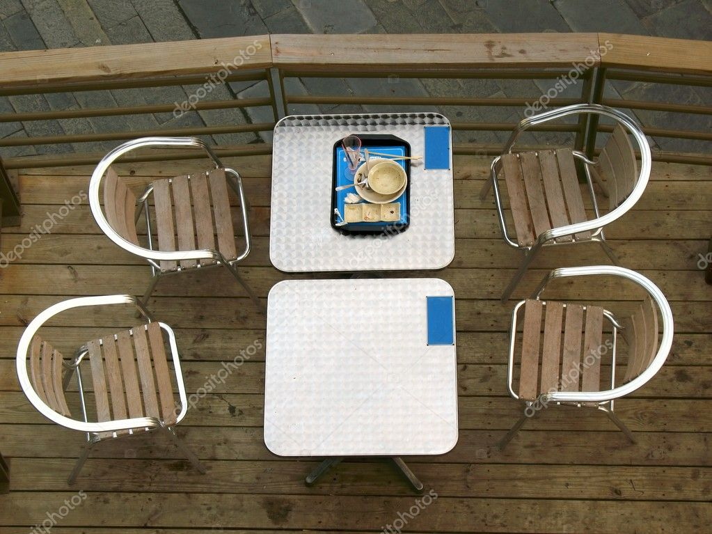 -- view of an outdoor restaurant table from above — Stock Photo #2191064