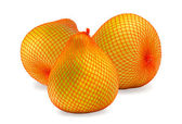 Three ripe fruits of pomelo in bag — Stock Photo