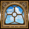 Gothic or scifi window with blue sky — Stok fotoğraf