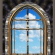 Gothic or scifi window with blue sky — Stok Fotoğraf #1197363