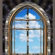 Gothic or scifi window with blue sky — 图库照片
