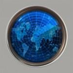 World map radar or sonar — Stock Photo