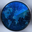 Stock Photo: World map radar or sonar