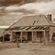 Stock Photo: Old farmhouse ruins in sepia