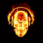 Flaming skull with headphones — Stock Photo