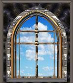 Ventana gótica o scifi con cielo azul — Foto de Stock