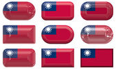 Nine glass buttons of the Flag of Taiwan — Stock Photo