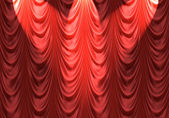 Spotlight on red curtain — Stock Photo