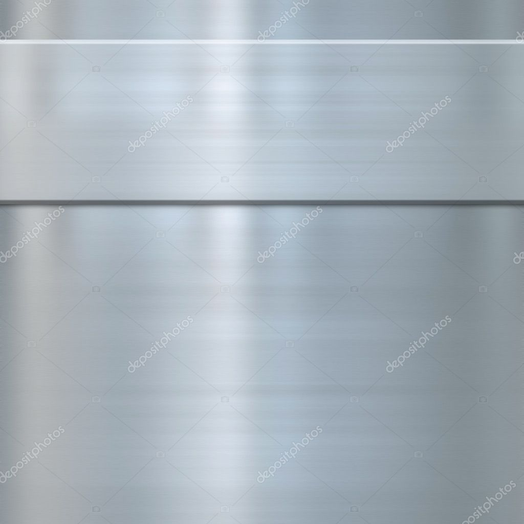 Very finely brushed steel metal background texture with panel — Stock Photo #1197277