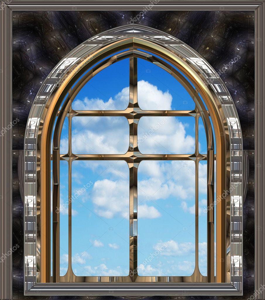Fen tre gothique ou scifi avec un ciel bleu photographie for Fenetre gothique