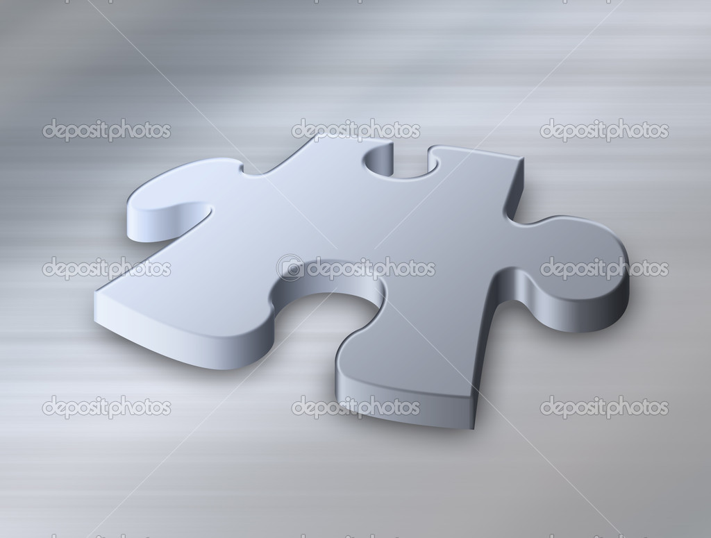 Great jigsaw puzzle piece on brushed metal — Stock Photo #1197646