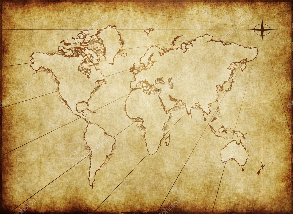 An old world map drawn onto parchment paper — Stock Photo #1197790